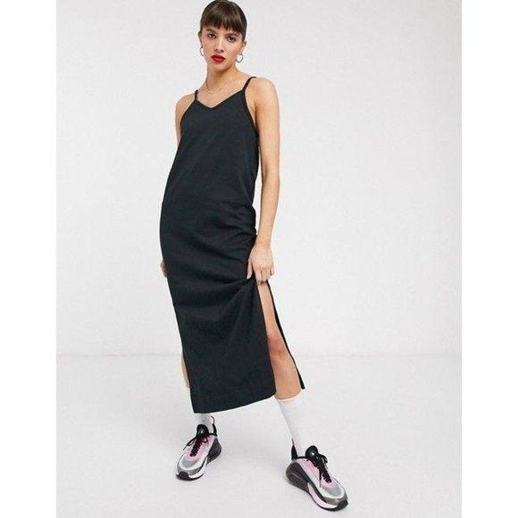 Nike Premium Jersey Slip Dress Midi Dress in Black